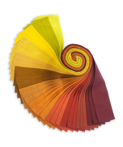 Kaufman Kona Cotton 772 40 Pre-Cut 40 Piece Roll Up - Autumn Hues