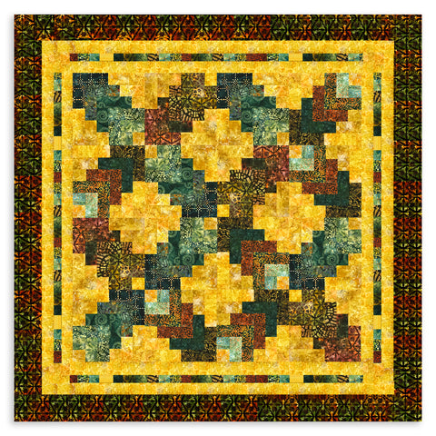 Jordan Fabrics VIDEO BUNDLE Kaufman Batik Strip Set Quilt Kit - Cotton Rainbow Autumn