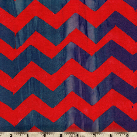 Free Spirit Kaffe Fassett Artisan Batiks BKKF004 Red Chevron Lightening By The Yard