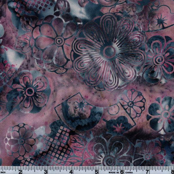 Hoffman Bali Batik BLU 5004 Amethyst Ice Flowers By The Yard