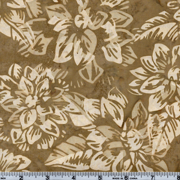 Hoffman Bali Batik BRN 5016 Natural Floral By The Yard
