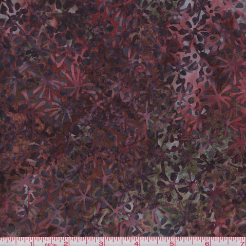 Hoffman Bali Batiks BURG 2033 Floral Splasts on Burgundy By The Yard