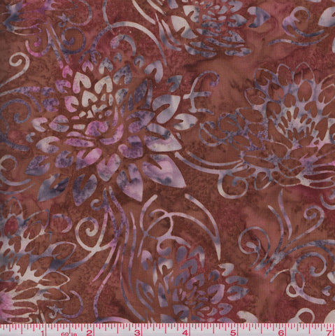 Hoffman Bali Batiks BURG 2035 Floral Swirls on Burgundy By The Yard