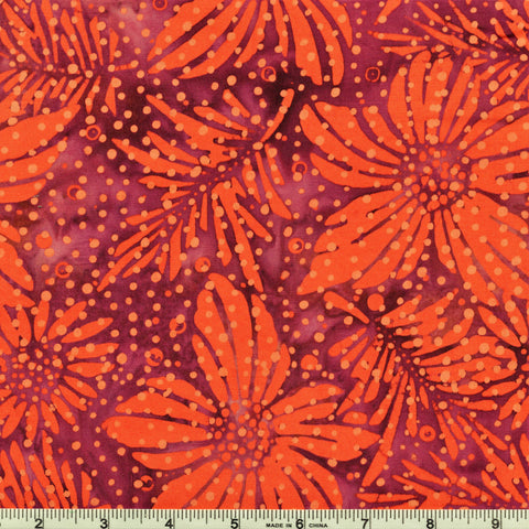 Mirah Bali Batik Bazaar BZ 17 1266 Amaryllis Rain Orange & Bordeaux By The Yard