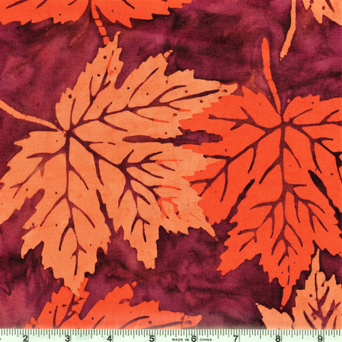 Copy of Mirah Bali Batik Bazaar BZ 8 1267 Orange/Bordeaux Large Sugar Maple Leaves By The Yard