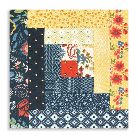 Moda Fabrics Pre-Cut 12 Block Log Cabin Quilt Kit - Biscuits & Gravy - Brunch