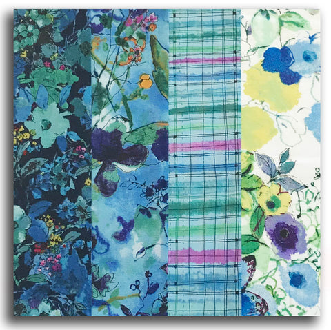 RJR Pre-cut 24 Block Rail Fence Quilt Kit - Bloom Bloom Butterfly Blue