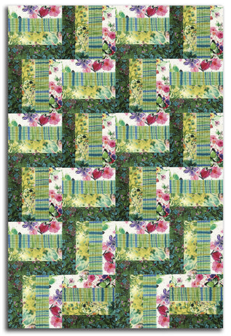 RJR Pre-cut 24 Block Rail Fence Quilt Kit - Bloom Bloom Butterfly Green