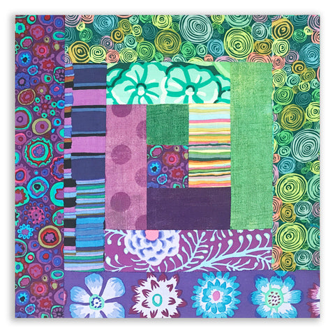Kaffe Fassett PRE-CUT 12 Block Log Cabin Quilt Kit - Blooming 2