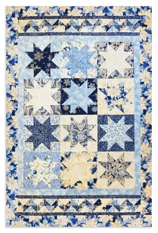 Robert Kaufman Christmas Holiday Flourish Pre-cut Quilt Kit - Blue & Silver Stars