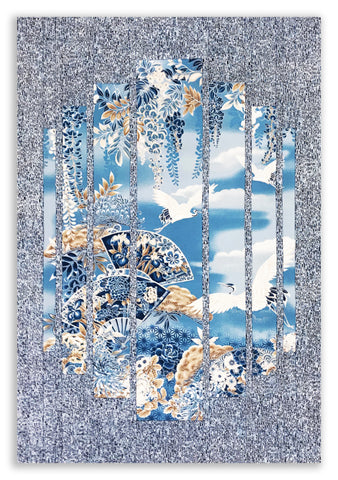 Robert Kaufman Pre-cut Asian Metallic Secret Window Panel Wall Hanging Quilt Kit - Imperial Blue