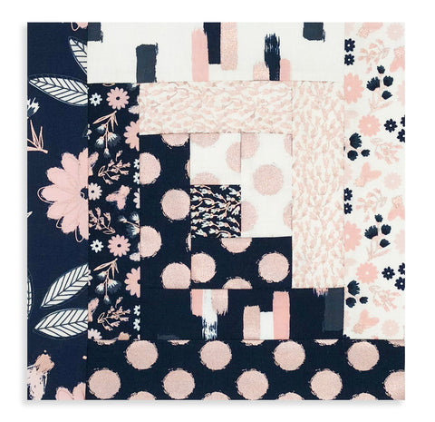 Riley Blake Designs Pre-cut 12 Block Log Cabin Quilt Kit - Blush