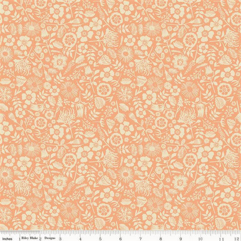 Riley Blake Meadow Lane C10125 Melon Floral Imprint By The Yard