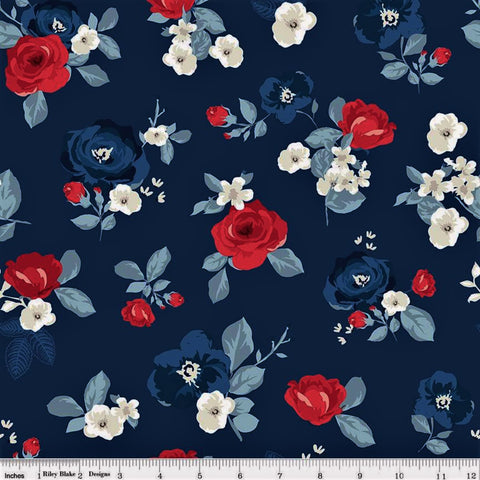 Riley Blake Land Of Liberty C10560 Navy Liberty Rose By The Yard