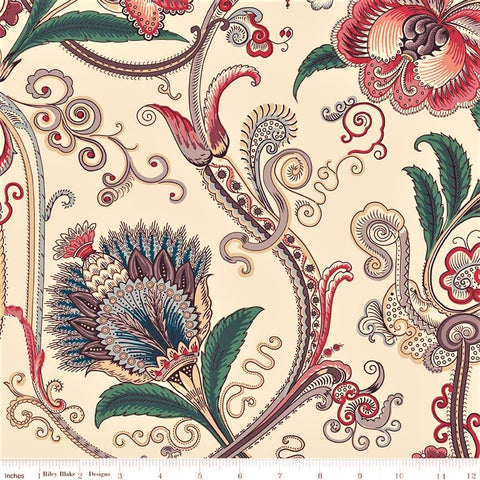Penny Rose Charlotte C8430 Cream Large Scrolling Flora By The Yard