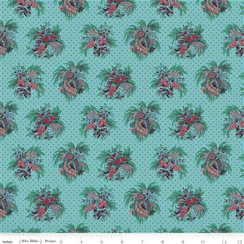 Penny Rose Charlotte C8431 Teal Fountain of Flora By The Yard