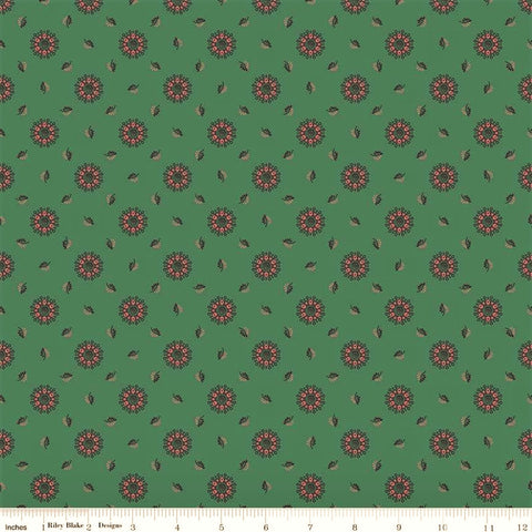 Penny Rose Charlotte C8432 Green Floral Medallions & Leaves By The Yard