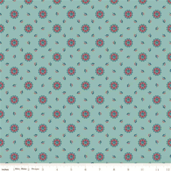 Penny Rose Charlotte C8432 Teal Floral Medallions & Leaves By The Yard