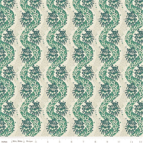 Penny Rose Charlotte C8433 Green Stripes Of Weaving Paths By The Yard