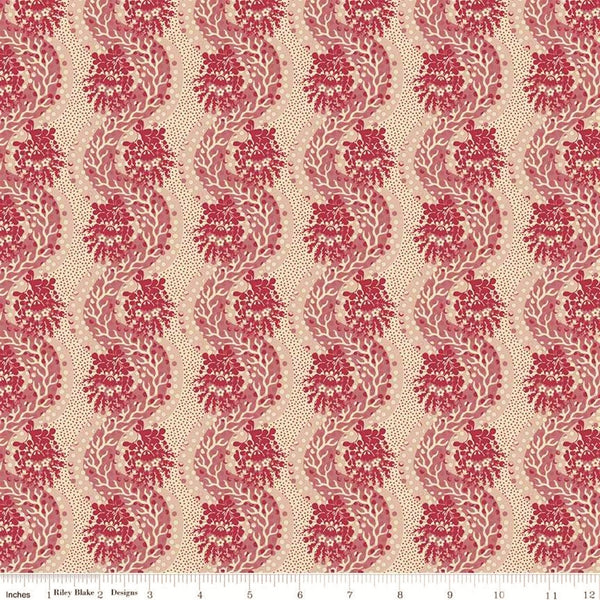 Penny Rose Charlotte C8433 Red Stripes Of Weaving Paths By The Yard