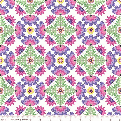 Riley Blake Lucy's Garden C8641 Purple Garden Tile By The Yard