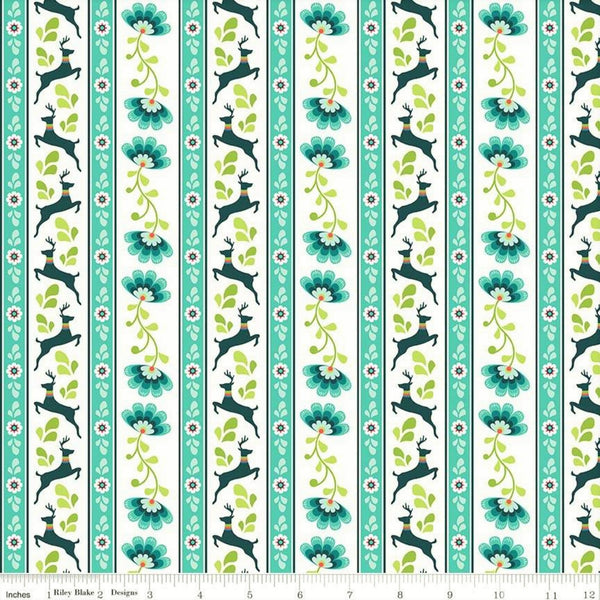Riley Blake Lucy's Garden C8642 Teal Deer Stripe By The Yard