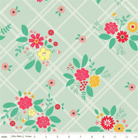 Riley Blake Rose Lane C8670 Mint Flowered Trellis By The Yard