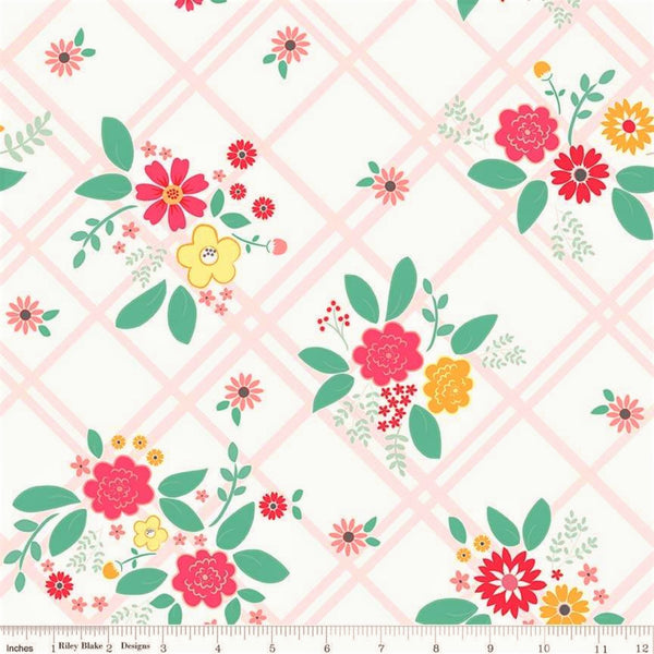 Riley Blake Rose Lane C8670 White Flowered Trellis By The Yard