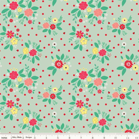 Riley Blake Rose Lane C8671 Mint Flower Bed By The Yard