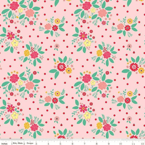 Riley Blake Rose Lane C8671 Pink Flower Bed By The Yard
