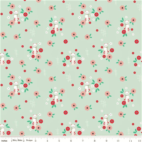 Riley Blake Rose Lane C8672 Mint Cat Floral By The Yard