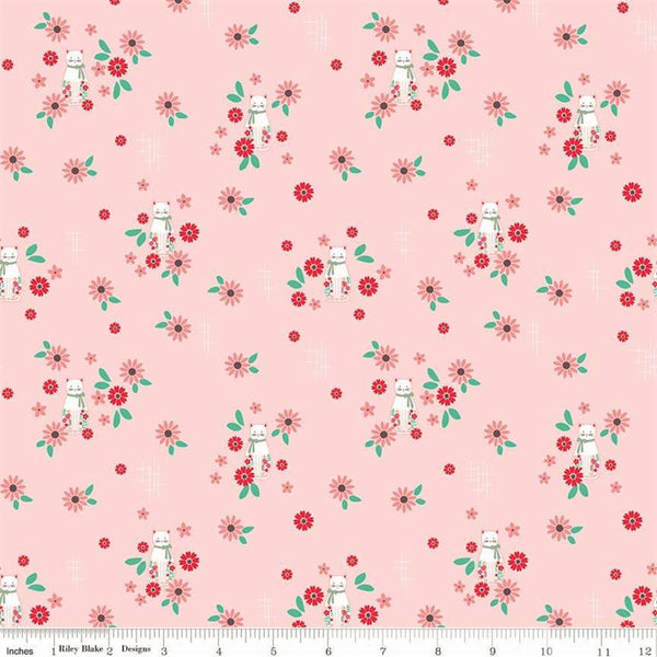 Riley Blake Rose Lane C8672 Pink Cat Floral By The Yard