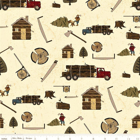 Riley Blake Lumberjack Aaron C8700 Cream Lumberjack Life By The Yard