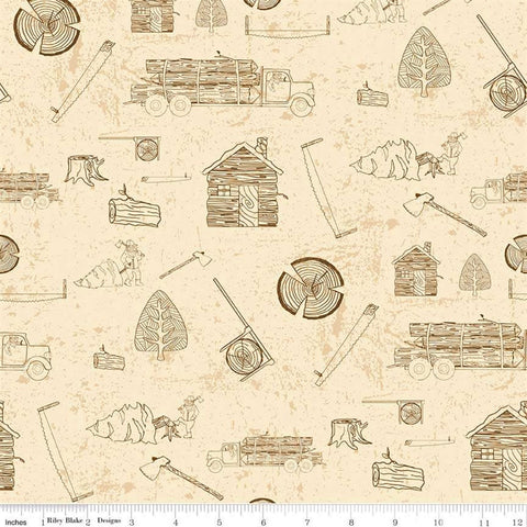 Riley Blake Lumberjack Aaron C8702 Cream Lumberjack Silhouettes By The Yard
