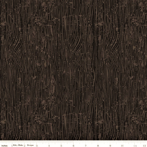 Riley Blake Lumberjack Aaron C8704 Black Woodgrain By The Yard