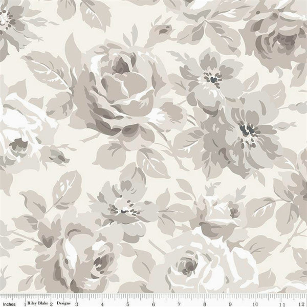 Riley Blake Serenity C8810 Cream Large Serenity Roses By The Yard