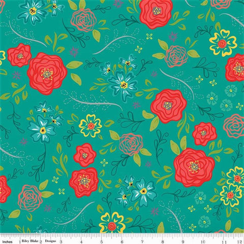 Riley Blake Wildflower Boutique C8830 Teal Floral Spring By The Yard