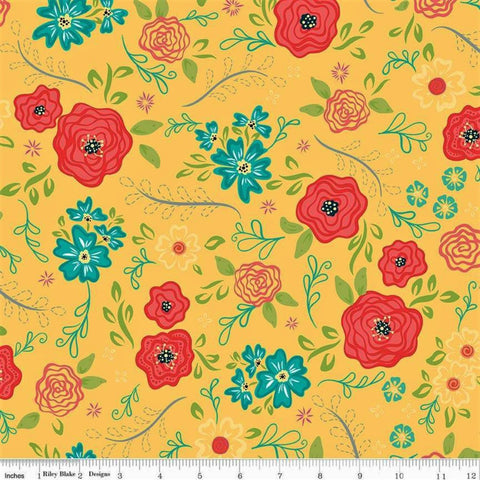 Riley Blake Wildflower Boutique C8830 Yellow Floral Spring By The Yard