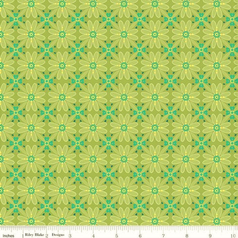 Riley Blake Wildflower Boutique C8831 Green Wildflower Mosaic By The Yard