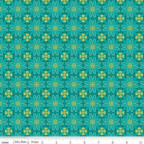 Riley Blake Wildflower Boutique C8831 Teal Wildflower Mosaic By The Yard