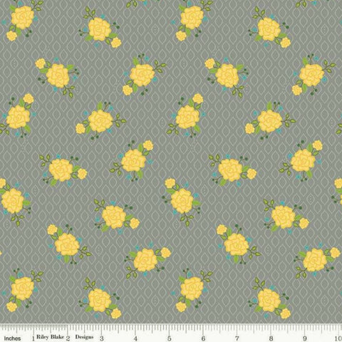 Riley Blake Wildflower Boutique C8832 Gray Rose Screen By The Yard