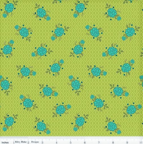 Riley Blake Wildflower Boutique C8832 Green Rose Screen By The Yard
