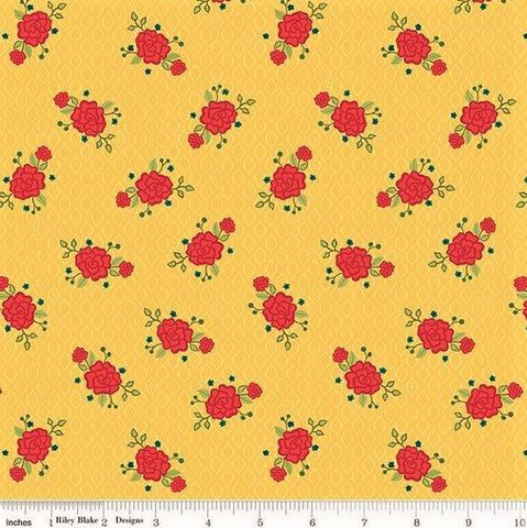Riley Blake Wildflower Boutique C8832 Yellow Rose Screen By The Yard