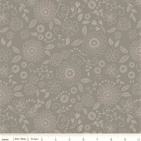 Riley Blake Wildflower Boutique C8833 Gray Line Work By The Yard