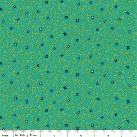Riley Blake Wildflower Boutique C8835 Teal Vines By The Yard