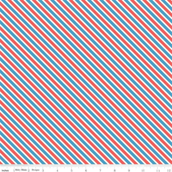 Riley Blake Love Letters C8864 Blue Too Sweet Stripe By The Yard