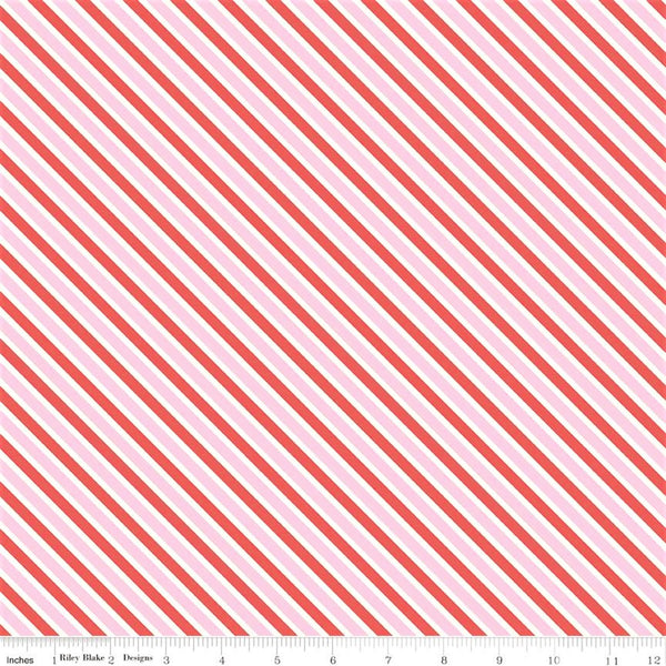 Riley Blake Love Letters C8864 Pink Too Sweet Stripe By The Yard