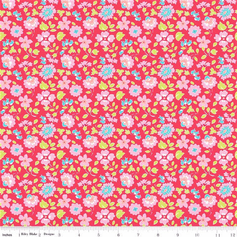 Riley Blake Paper Daisies C8883 Dark Pink Friendly Floral By The Yard