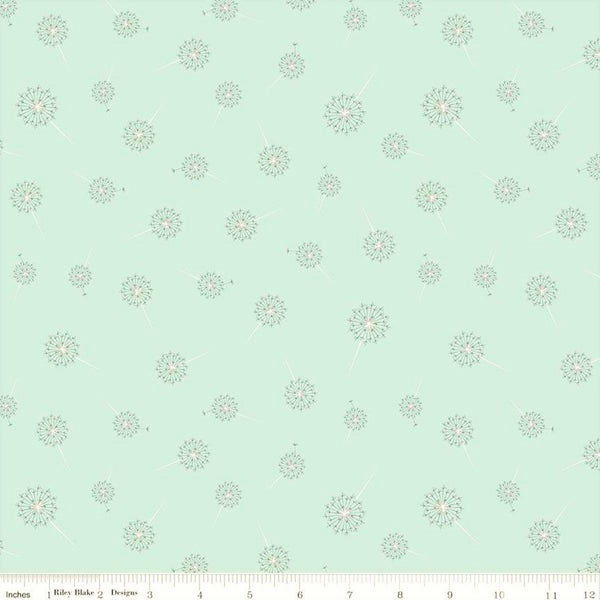 Riley Blake Paper Daisies C8885 Mint Dandelion By The Yard