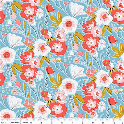 Riley Blake Petals & Pots C8970 Dk. Blue Wild Garden By The Yard
